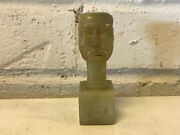 Vintage Antique Soapstone Carving Miniature Bust Of Manand039s Face Head