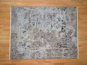 8and039x10and0391 Handknotted Silk With Oxidized Wool Transitional Rug G40857