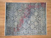 8and0391x10and039 Handknotted Broken Design Silk And Oxidized Wool Transitional Rug G40855