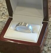 Mens Ring Of Fire Diamond Ring W/white Gold In Beautiful Cherry Wood Ring Box
