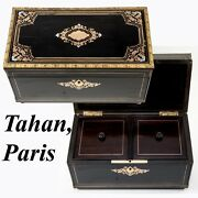 Rare Tahan Paris Antique French Double Well Tea Caddy Napoleon Iii Boulle