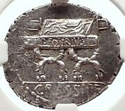 Roman Republic 84bc Rome Authentic Ancient Silver Coin Cybele And Chair Ngc I69794