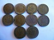 Lot Of 10 German Federal Republic 1950 5 Pfennig Circulated Coin Lot D,f,g And J