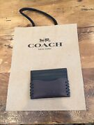 Coach Men's Leather Credit Card Case Wallet Baseball Stitch F22370 Gift Box 95