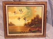 Mallard Ducks Flying Over Lake Oil Painting On Canvas By J. Perrine
