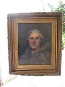 Annette Nathan 19th Century British Realist Oil Portrait Of A Monk Old Master