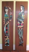 Mid Century Mod Harris Strong Modern Pair Pottery Ceramic Wall Plaques