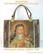 Cuzcospanish Colonialhand Painted Virgin With Cross Italian Leather Tote
