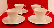 Rosenthal Continental Classic Modern White 4 Coffee Tea Cups 3 Saucer Set A