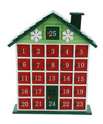 Green Wooden Cottage House Reusable Advent Calendar Countdown To Christmas