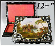 Antique Victorian Era 12 Jewelry Or Work Box, Gorgeous Hand Painted Casket