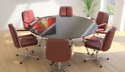 Glass Top Circular Shaped Sven Conference Boardroom Meeting Table Finish Choice