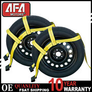 Universal Tow Dolly Straps Adjustable Car Wheel Net With Flat Hook For Demco 2pc