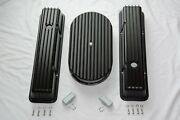 Sbc Black Finned Aluminum Tall Valve Covers 283 327 350 Chevy + 15 Air Cleaner