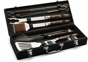 10-pc Home Outdoor Barbecue Utensils Grilling Set W/ Leather Storage Case Black