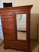 Vintage Broyhill Tapestry Village Armoire With Mirror-local Pickup Or Delivery