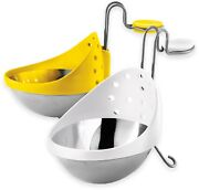 2-pc Home Kitchen Cooker Stainless Steel Microwave Oven Egg Poacher White/yellow