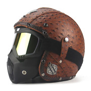 Retro Vintage Motorcycle Helmet Chopper Scooter Synthetic Leather 3/4 Open Face