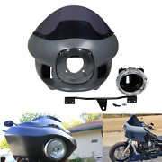 7 Round Headlight Front Upper Fairing Cowl Mount W/ Windscreen For Harley Dyna