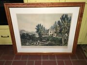 Original Currier And Ives Print The Farmers Home Autumn Large Folio