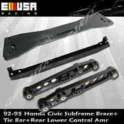 Rear Lower Control Arm+tie Bar+subframe Bar For 92-95 Civic 93-97 Del Sol Black