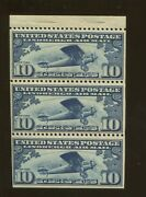 1927 Us Air Mail Postage Stamp C10a Mint Lightly Hinged Vf Booklet Pane Of 3