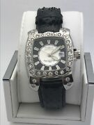 Menand039s Black Dial Black Leather Band Stainless Steel Case Watch 3185