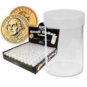 100 New Bcw Round Small Dollar Clear Plastic Coin Storage Tubes W/ Screw On Caps