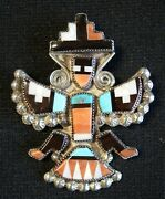 Zuni Pueblo Sterling Silver Polychrome Stone Inlay Knifewing Pin