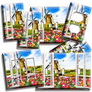 Window View Windmill Tulips Farm Field Light Switch Outlet Wall Plate Room Decor