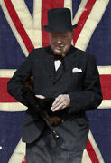 Winston Churchill Tommy Gun Thompson Smg Wwii Color Photo 1940 - I10105
