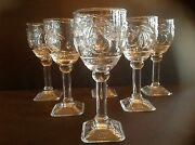 Six Pressed Goblets Clear Glass Water/wine Square Footed Base W Embossed Fruits