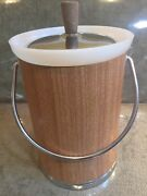Vtg Kromex Stainless Wood Ice Bucket Pail Champagne Wine Cooler Usa Immaculate