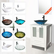 24 White Bathroom Vanity Cabinet And Glass Ceramic Vessel Sink W/ Faucet Drain