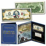 United States Air Force Wwii Vintage Genuine 2 Bill In 8x10 Collectors Display