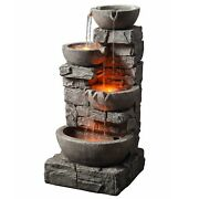 Outdoor Water Fountain Led Light Stacked Stone Tiered Bowls Garden Freestanding