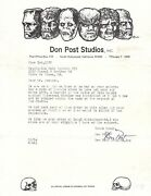 Don Post Signed Letter Dated June 1 1972 The Godfather Of Halloween Rare
