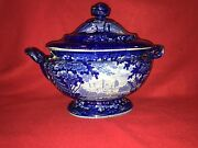 Lc2 Historical Staffordshire Dark Blue Soup Tureen Italian Scenery By Wood 1825