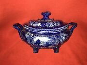 Lc5 Historical Staffordshire Dark Blue Soup Tureen Laxton Hall 1825 Select Views