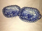 Lc5 Historical Staffordshire Batalha Portugal Reticulated Tray Basket Ca 1825