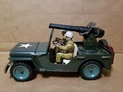 Msk Tin Toy Japan Military Willys Jeep With Cannon Friction Car 1950s Very Nice
