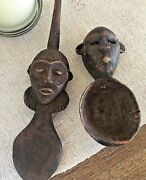 Africa Rwanda Masai Antique Wood Art For Kitchen Decoration Two Spoons