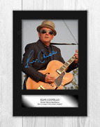 Elvis Costello 2 A4 Portrait Signed Mounted Photograph Poster. Choice Of Frame