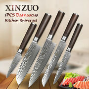 5pcs Kitchen Knife Set 67 Layers Damascus Steel Chef Cleaver Bread Utility Fruit