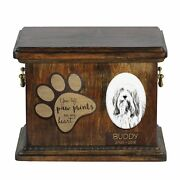 Bearded Collie - Urn For Dogandrsquos Ashes With Ceramic Plate And Description Usa