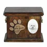 Dandie Dinmont Terrier - Urn For Dog's Ashes, Ceramic Plate And Description Usa
