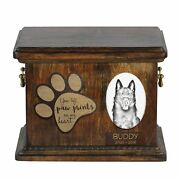 Schipperke - Urn For Dog's Ashes With Ceramic Plate And Description Usa