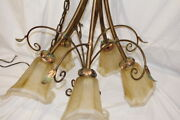 Cristal Italy 5 Light Chandelier Art No. 6112-5-97 Glass Amber Frost 10 Shades