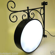 Cast Iron Ornamental Led 2 Sided Round Outdoor Projecting Light Box Sign 60cm Bk