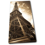 Eiffel Tower Vintage Architecture Single Canvas Wall Art Picture Print